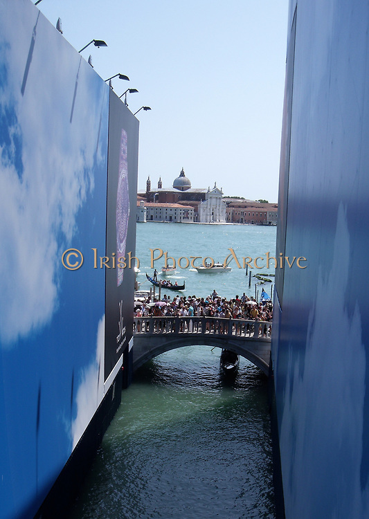 Bridge on the Via Schiavoni viewed from bridge of sighs, in Venice, Italy.