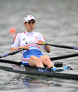 Ottensheim, AUSTRIA. GBR LW1X, Mathilde PAULS, Morning semi final, as she moves away from the start pontoon, at the 2008 FISA Senior and Junior Rowing Championships,  Linz/Ottensheim. Friday,  25/07/2008.  [Mandatory Credit: Peter SPURRIER, Intersport Images] Rowing Course: Linz/ Ottensheim, Austria