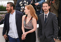 Tom Hardy, Jessica Chastain, Shia Labeouf  at the Lawless film photocall at the 65th Cannes Film Festival. The screenplay for the film Lawless was written by Nick Cave and Directed by John Hillcoat. Saturday 19th May 2012 in Cannes Film Festival, France.