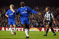 Photograph: Scott Heavey.<br />Chelsea v Besiktas JK. UEFA Champions League Group G. 01/10/2003.<br />Jimmy Floyd Hasselbaink cant believe he hasnt scored.