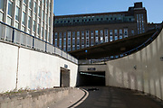 Local atmosphere due to Coronavirus lockdown is felt on a street by street level as streets remain deserted on the underpass on St Chads Queensway leading to Aston Expressway as people observe the stay at home advice from the government on 7th April 2020 in Birmingham, England, United Kingdom. This area of main roads through central Birmingham is normally full of cars, but is currently eerily empty of vehicles. Coronavirus or Covid-19 is a new respiratory illness that has not previously been seen in humans. While much or Europe has been placed into lockdown, the UK government has announced more stringent rules as part of their long term strategy, and in particular social distancing.