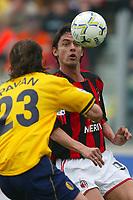 Modena 4/4/2004 Campionato Italiano Serie A 28a Giornata - Matchday 28<br />Modena Milan 1-1<br />Filippo Inzaghi (Milan) and Simone Pavan (Modena)<br />Foto Andrea Staccioli Graffiti