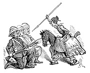 (A militant Suffragette wearing a horse costume attacks Wiiliam Gladstone, and fellow politicians, with a spear).