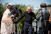 """Michio Kaku, presenter of """"Physics of the impossible at The Greenwich Obsevatory, London, UK. l- r Steve Bowers Michio and Fre Hepburn"""