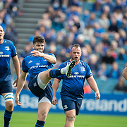 DUBLIN, IRELAND:  October 9:  Harry Byrne #10 of Leinster kicks for touch during the Leinster V Zebre, United Rugby Championship match at RDS Arena on October 9th, 2021 in Dublin, Ireland. (Photo by Tim Clayton/Corbis via Getty Images)