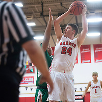 Grants Pirate Colton Moore (24) looks to the basket against Farmington during the Eddie Peña Classic Basketball Tournament in Grants Thursday.