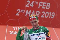 March 2, 2019 - Dubai, United Arab Emirates - Elia Viviani of Italy and Team Deceuninck - Quick Step wins the Green Best Sprinter Jersey during the inaugural UAE Tour 2019..On Saturday, March 2, 2019, in Dubai Safari Park, Dubai Emirate, United Arab Emirates. (Credit Image: © Artur Widak/NurPhoto via ZUMA Press)