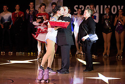 Lucija Mlinaric with her father and mother during special artistic roller skating event when Lucija Mlinaric of Slovenia, World and European Champion ended her successful sports career, on November 7, 2015 in Rence, Slovenia. Photo by Vid Ponikvar / Sportida