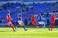 Nottingham Forest's Lewis Grabban (7) under pressure from Cardiff City's Aden Flint (5) during the EFL Sky Bet Championship match between Cardiff City and Nottingham Forest at the Cardiff City Stadium, Cardiff, Wales on 2 April 2021.