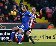 Charles Dunne of Oldham and Matt Done of Sheffield Utd during the English League One match at Bramall Lane Stadium, Sheffield. Picture date: December 26th, 2016. Pic Simon Bellis/Sportimage