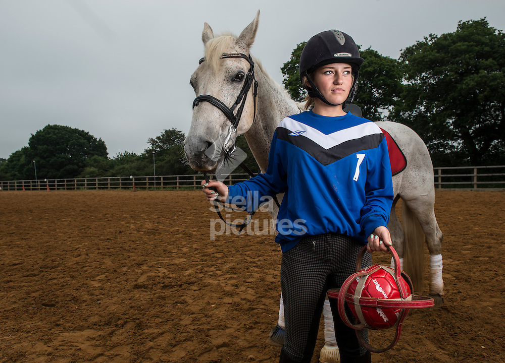 Becky Frost poses for a portrait following a session of horseball at Arkley Lane Stables, Barnet.<br /> Picture by Daniel Hambury/Stella Pictures Ltd +44 7813 022858<br /> 04/06/2016