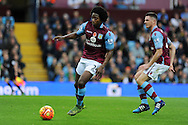 Carlos Sanchez of Aston Villa (l) in action. Barclays Premier league match, Aston Villa v Manchester city at Villa Park in Birmingham, Midlands  on Sunday 8th November 2015.<br /> pic by  Andrew Orchard, Andrew Orchard sports photography.
