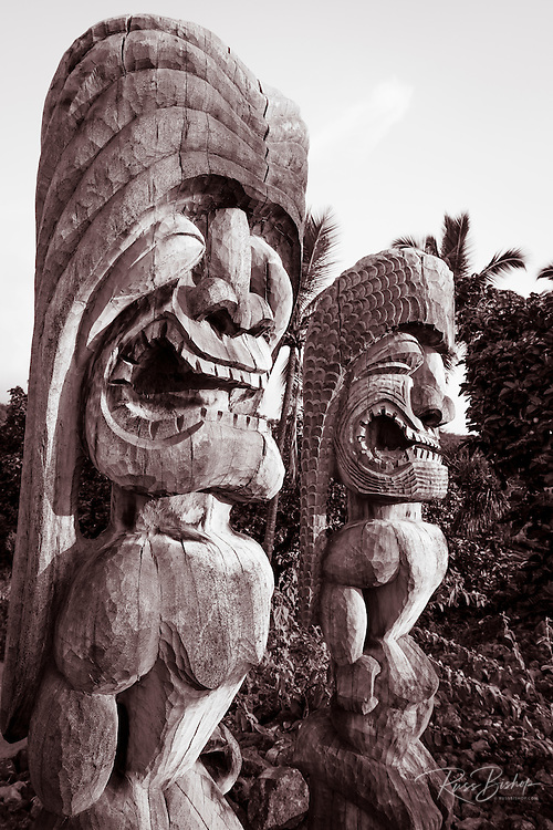 Tikis (ki'i) at Pu'uhonua O Honaunau (City of Refuge) National Historic Park, Kona Coast, Hawaii USA