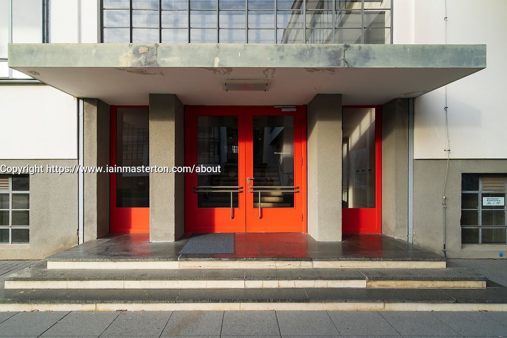 Bauhaus architecture at entrance at the School of Design at Dessau, Germany