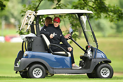 Zara Tindall and David Coulthard in a golf buggy during the ISPS Handa Celebrity Golf Classic at The Belfry in Sutton Coldfield.