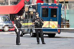 © Licensed to London News Pictures. 05/06/2018. London, UK.  City police at the scene near Liverpool Street in the City of London where a man was stabbed on Alderman's Walk at around 6pm this evening. The man has been taken to the Royal London hospital.  Photo credit: Vickie Flores/LNP