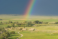 A vivid rainbow appeared on the other side of this storm near Crazy Woman Canyon.