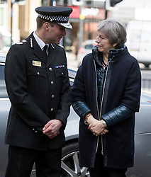 © Licensed to London News Pictures. 15/03/2018. Salisbury, UK. British Prime Minister THERESA MAY is seen arriving for a visit to Salisbury, Wiltshire where Former Russian spy Sergei Skripal and his daughter Yulia were found after being poisoned with nerve agent. The couple where found unconscious on bench in Salisbury shopping centre. A policeman who went to their aid is currently recovering in hospital. Photo credit: Ben Cawthra/LNP