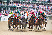 May 3, 2019: 145th Kentucky Oaks at Churchill Downs. SHE'S A JULIE (right black silks) wins the La Troienne Stakes with Ricardo Santana Jr. in the irons.