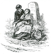 An destitute, unmarried mother found exhausted on her way to the Workhouse with her baby.  Scene reminiscent of a Thomas Hardy novel but one not uncommon in rural areas throughout the country. Illustration by Mary Ellen Edwards c1881.