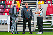Middlesbrough assistant manager Kevin Blackwell, Middlesbrough first team coach Ronnie Jepson, Middlesbrough manager Neil Warnock, pitch inspection before the EFL Sky Bet Championship match between Brentford and Middlesbrough at Brentford Community Stadium, Brentford, England on 7 November 2020.
