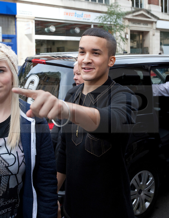 © Licensed to London News Pictures. 09/10/2012. London, U.K. X FACTOR finalist Jahmene Douglas , leaving the Radio 1 building on great portland street today (09/10/2012) after an interview with Sarah Jane Crawford...Photo credit : Rich Bowen/LNP