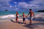 Family on Beach, Lanikai, Kailua, Oahu, Hawaii<br />