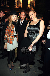 Left to right, GEORGIA JAGGER, chef ANDREW LASSETTER and AMY SACCO at a party to celebrate the opening of the new home of Alfred Dunhill at Bourdon House, 2 Davies Street, London on 16th September 2008.
