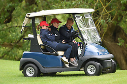 (left to right) Dolly Maude, Zara Tindall and David Coulthard in a golf buggy during the ISPS Handa Celebrity Golf Classic at The Belfry in Sutton Coldfield.