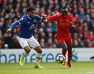 Ashley Williams of Everton in action with Sadio Mane of Liverpool during the English Premier League match at Anfield Stadium, Liverpool. Picture date: April 1st 2017. Pic credit should read: Simon Bellis/Sportimage