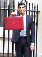Chancellor of the Exchequer Rishi Sunak poses for holding the ministerial red box in front of 11 Downing Street,  London, 11 March 2020
