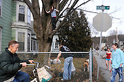 A bicyclist rolls past on School Street in Lebanon as Kevin Guerin, middle, rakes leaves on his Lebanon lawn surrounded by his step daughters Lexi Lowell, 10, in tree, Halie Lowell, 13, right, and son Brody, right, Monday, March 12, 2012. <br /> Valley News - James M. Patterson