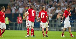 02.09.2011, Veltins Arena, Gelsenkrichen, GER, UEFA EURO 2012 Qualifikation, Deutschland (GER) vs Oesterreich (AUT), im Bild Erwin Hoffer (#9 AUT, Frankfurt), Christian Fuchs (#5 AUT, Schalke), Florian Klein (#17 AUT, Wien), Marko Arnautovic (#7 AUT, Bremen) nach der Niederlage // during the UEFA Euro 2012 qualifying round Germany vs Austria  at Veltins Arena, Gelsenkirchen 2011-09-02 EXPA Pictures © 2011, PhotoCredit: EXPA/ nph/  Kurth       ****** out of GER / CRO  / BEL ******