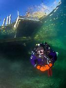 KISS Spirit rebreather diver under the platform at the Pump House Dutch Springs Quarry, Bethlehem, Pennsylvania
