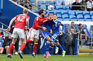Kenneth Zohore of Cardiff city ® is tackled by Daniel Fox of Nottingham Forest. EFL Skybet championship match, Cardiff city v Nottingham Forest at the Cardiff City Stadium in Cardiff, South Wales on Easter Monday 17th April 2017.<br /> pic by Andrew Orchard, Andrew Orchard sports photography.