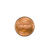 US one penny coin (one cents) isolated on white background