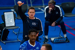 Trainer/coach Arjan Taaij in action during the cup final between Amysoft Lycurgus vs. Draisma Dynamo on April 18, 2021 in sports hall Alfa College in Groningen