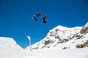 British freestyle athletes Billy Morgan and Cal Sandieson during spring training on 05th May 2017 in Corvatsch, Switzerland. Piz Corvatsch is a mountain in the Bernina Range of the Alps, overlooking Lake Sils and Lake Silvaplana in the Engadin region of the canton of Graubünden.