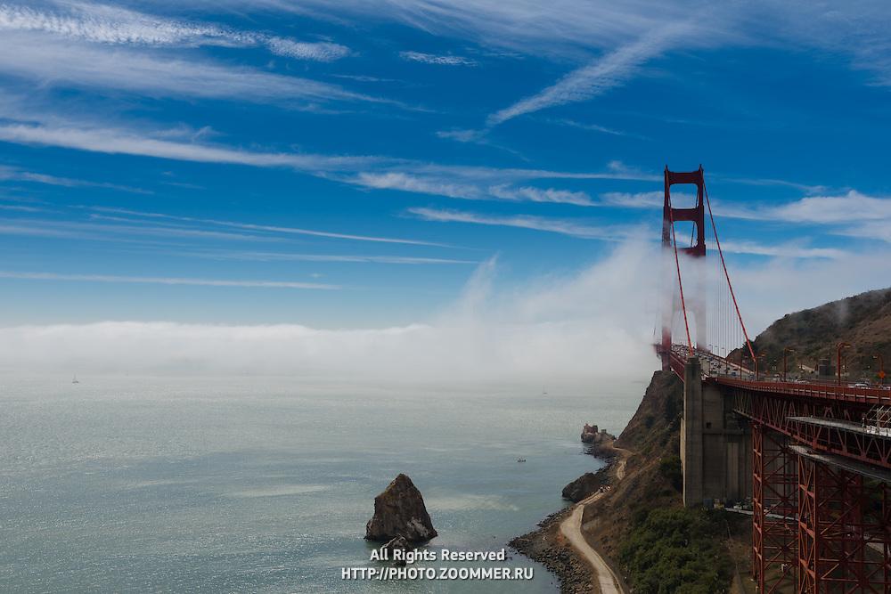 Golden Gate Bridge in a fog from Horseshoe bay vista point, San Francisco