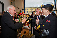 """HRH The Princess Royal lends a finger as she receives a demonstration of rope skills Tony """"Knotty"""" Ray during her commemorative visit to Boathouse 4 at Portsmouth Historic Dockyard today. The Boathouse opened last year following a £5.7million restoration and features a boatbuilding academy, The Forgotten Craft exhibition, family activities and Midships restaurant.<br /> Picture date: Monday March 20, 2017.<br /> Photograph by Christopher Ison ©<br /> 07544044177<br /> chris@christopherison.com<br /> www.christopherison.com"""