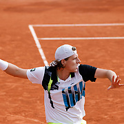 PARIS, FRANCE October 08. Lilian Marmousez of France in action against Juan Bautista Torres of Argentina in the Boy's Singles quarter-finals match during the French Open Tennis Tournament at Roland Garros on October 8th 2020 in Paris, France. (Photo by Tim Clayton/Corbis via Getty Images)