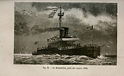 19th century Woodcut print on paper of La Devastation an ironclad battleship of the French Navy launched in August 1879 from L'art Naval by Leon Renard, Published in 1881
