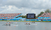 Eton Dorney, Windsor, Great Britain,..2012 London Olympic Regatta, Dorney Lake. Eton Rowing Centre, Berkshire.  Dorney Lake.  ..Men's Lightweight Doubles in the closing stages of the final with Denmark leading GB home. DEN LM2X, GBR LM2X and NZL LM2X...12:27:37  Saturday  04/08/2012 [Mandatory Credit: Peter Spurrier/Intersport Images]
