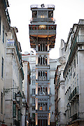 Elevador de Sta. Justa, built in 1902 with 45 metres tall, links the higher districts with Baixa in the hill directly opposite to the castle, in central Lisbon.
