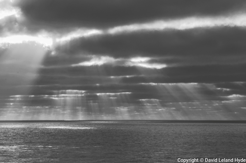 Sun Rays Through Cloud Layers, dark skies, Cardiff-By-The-Sea, San Diego beaches, Cardiff State Beach, California parks