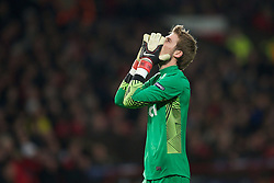 22.11.2011, Old Trafford, Manchester, ENG, UEFA CL, Gruppe C, Manchester United (ENG) vs Benfica Lissabon (POR), im Bild Manchester United's goalkeeper David de Gea rues a missed chance as his side draw 2-2 with SL Benfica during the UEFA Champions League Group C match at Old Trafford, London, United Kingdom on 22/11/2011. EXPA Pictures © 2011, PhotoCredit: EXPA/ Sportida/ David Rawcliff..***** ATTENTION - OUT OF ENG, GBR, UK *****