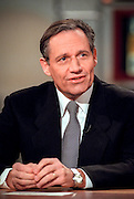 Columnist and author Bob Woodward discusses the Clinton impeachment during NBC's Meet the Press December 13, 1998 in Washington, DC.