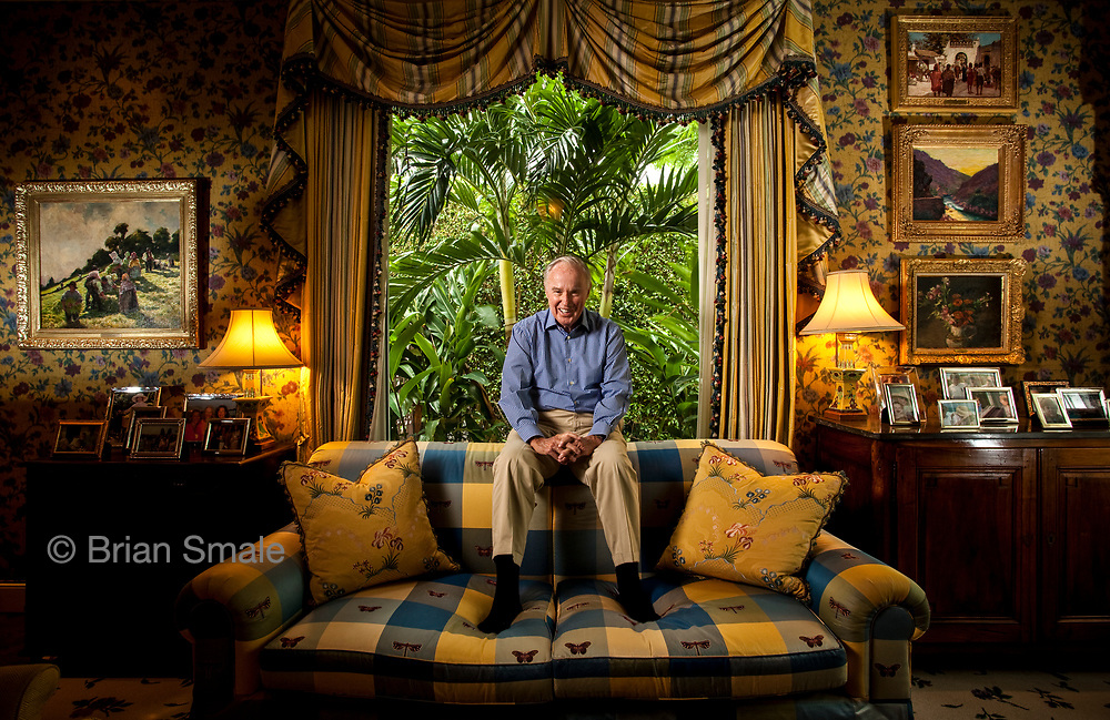 Brian Burns, in parlor of his Palm Beach home.