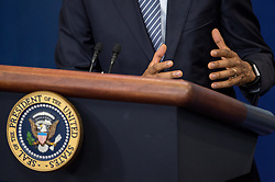 November 14, 2016 - Washington Dc, DC, USA - U.S. President Barack Obama speaks during a news conference in the Brady Press Briefing Room at the White House in Washington, DC. President Obama spoke and answered questions about President-elect Trumps transition before heading out to Germany, Peru, and Greece. (Credit Image: © Ken Cedeno via ZUMA Wire)