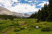 The Wind River Range, mountains in the Bridger Teton National Forest, Sublette County, Wyoming, USA, along the Shadow Lake Trail.